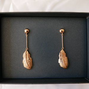 J. CREW Demi-Fine: Pink Feather Drop Earrings